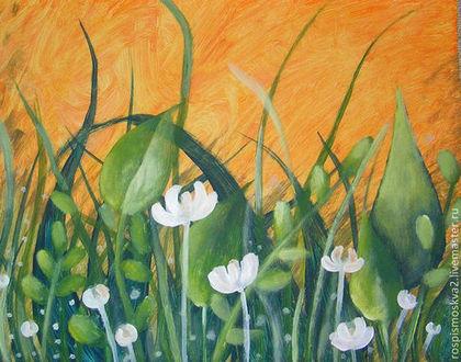 Картины цветов ручной работы. Ярмарка Мастеров - ручная работа Картина Поляна с  цветами   белый бумага акрил. Handmade.