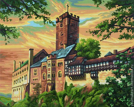 """Город ручной работы. Ярмарка Мастеров - ручная работа. Купить Картина для рисования по номерам """"Замок Вартбург"""". Handmade. Коричневый"""