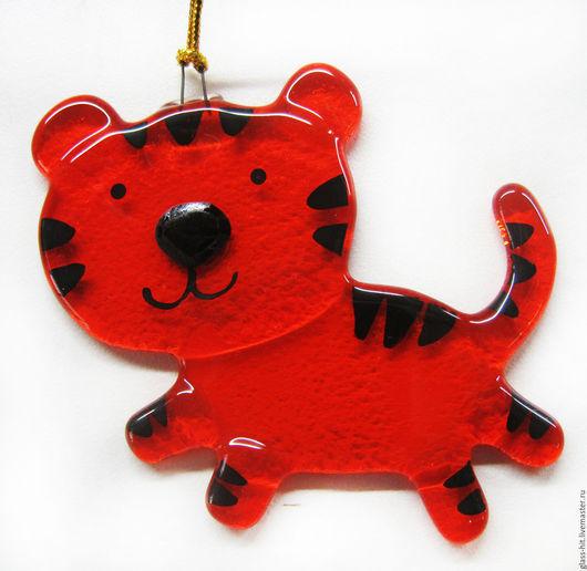 Тигр-новогодняя игрушка. Стекло. Фьюзинг.