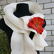 Аксессуары ручной работы. Ярмарка Мастеров - ручная работа шарф Мак валяный. Handmade.