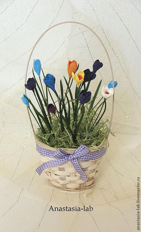 """Интерьерные композиции ручной работы. Ярмарка Мастеров - ручная работа. Купить Интерьерная композиция """"Крокусы"""". Handmade. Крокусы, весенние цветы"""
