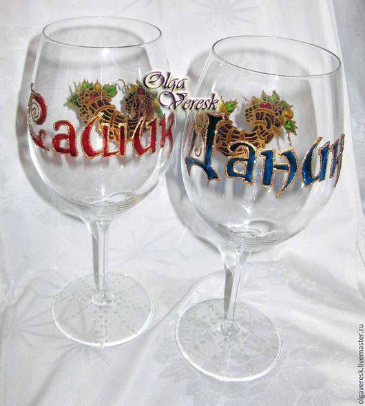 Бокалы, стаканы ручной работы. Ярмарка Мастеров - ручная работа. Купить Бокалы подарочные. Handmade. Комбинированный, бокалы свадебные