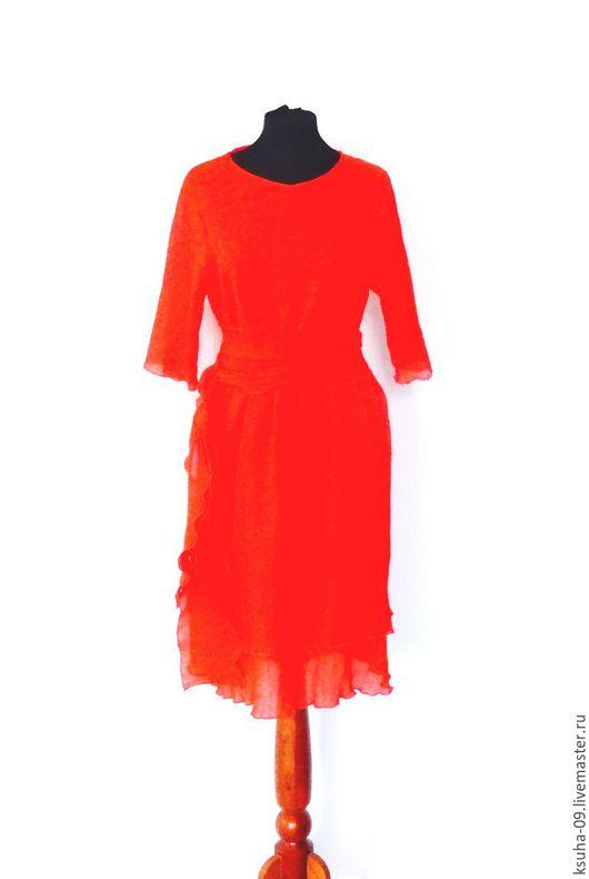 Платья ручной работы. Ярмарка Мастеров - ручная работа. Купить Платье Огонь. Handmade. Ярко-красный, оранж, тепло, лето
