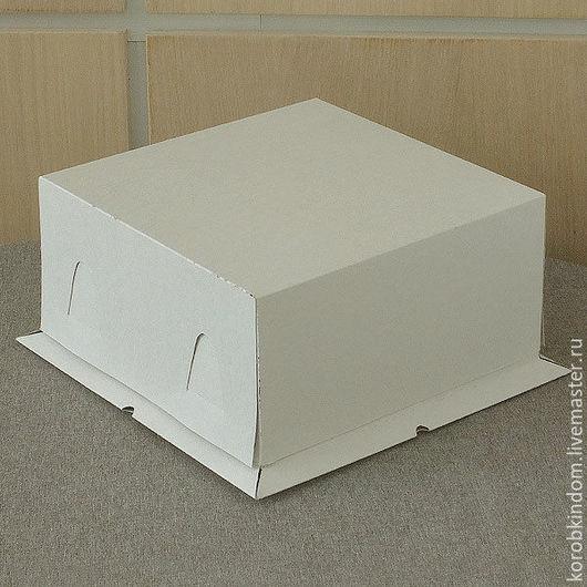 """Упаковка ручной работы. Ярмарка Мастеров - ручная работа. Купить Коробка 21х21х10 """"крышка-дно"""" для торта белая. Handmade. Коробочка"""