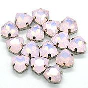 Триллиант 12 мм в оправе розовый опал