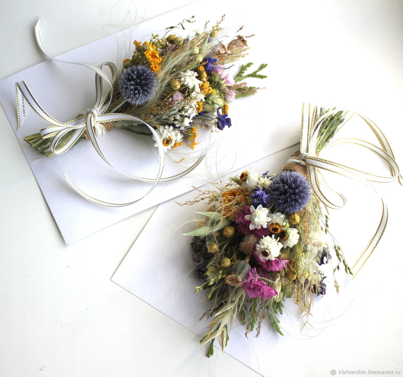 Букетик из сухоцветов на подарок открытку в рамку 21х11, Букеты, Лениногорск,  Фото №1