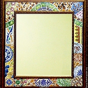 Для дома и интерьера handmade. Livemaster - original item The mirror In the Park Guell-Painted ceramics. Handmade.