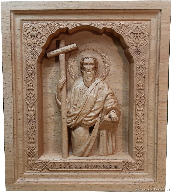 Резная икона Святой Апостол Андрей, Иконы, Москва,  Фото №1