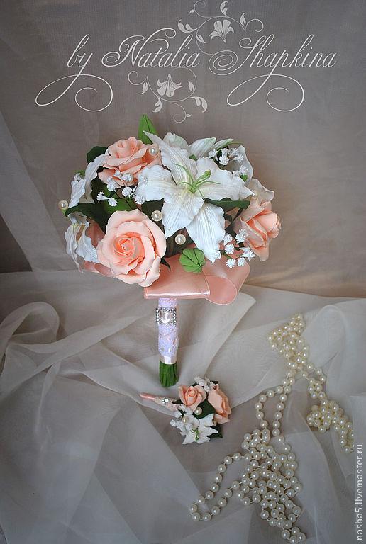 Свадебный букет из лилий и роз
