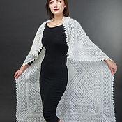 handmade. Livemaster - original item Downy shawl in white with pattern. Handmade.