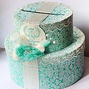 Свадебный салон ручной работы. Ярмарка Мастеров - ручная работа Сундучок-тортик Тиффани кружевной с цветком. Handmade.