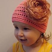 Работы для детей, ручной работы. Ярмарка Мастеров - ручная работа Шапочка вязаная для девочки с цветком. Handmade.