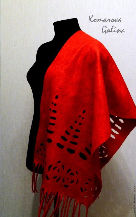 женский валяный шарф палантин`Сияние` шарф