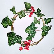 Картины и панно handmade. Livemaster - original item Christmas wreath watercolor. Handmade.