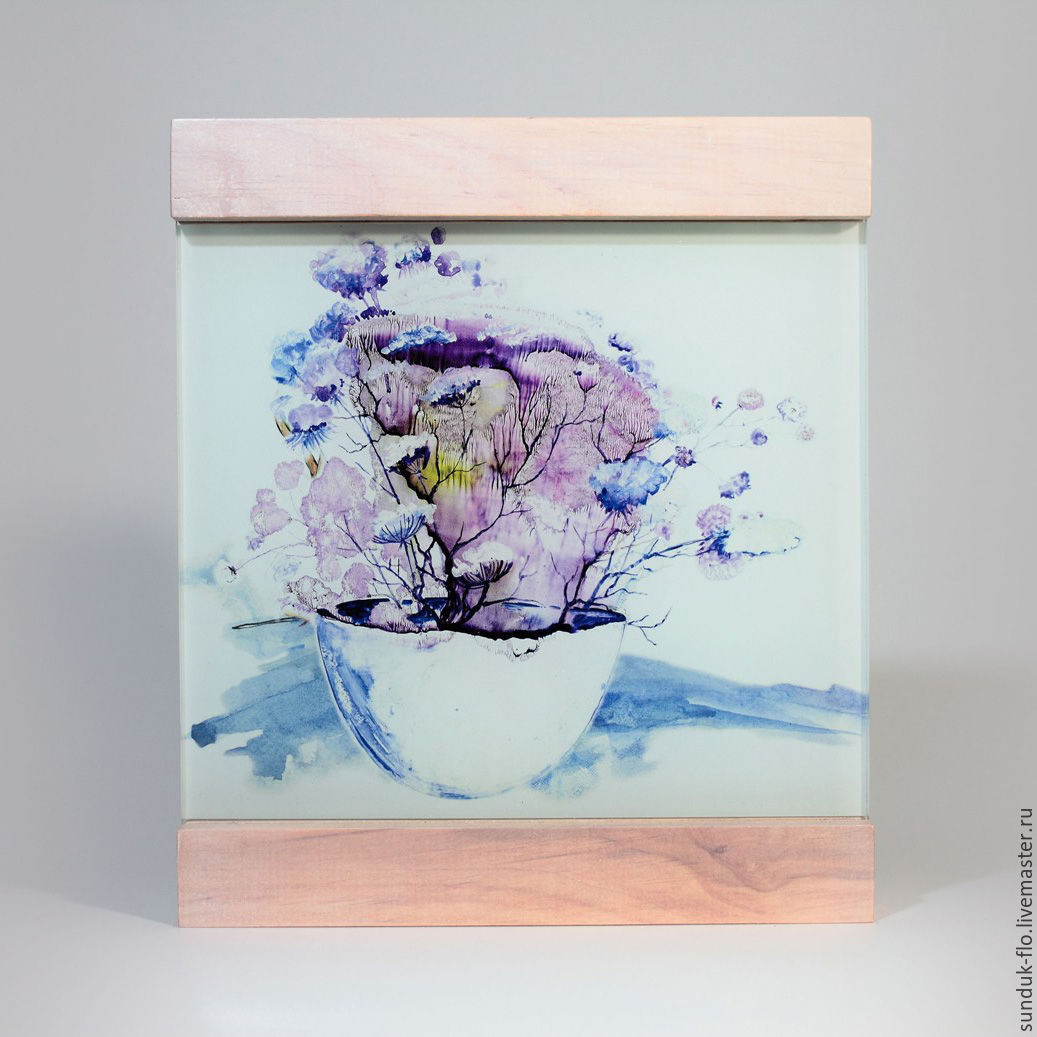 Glass painting `Pink flowers in a mug`
