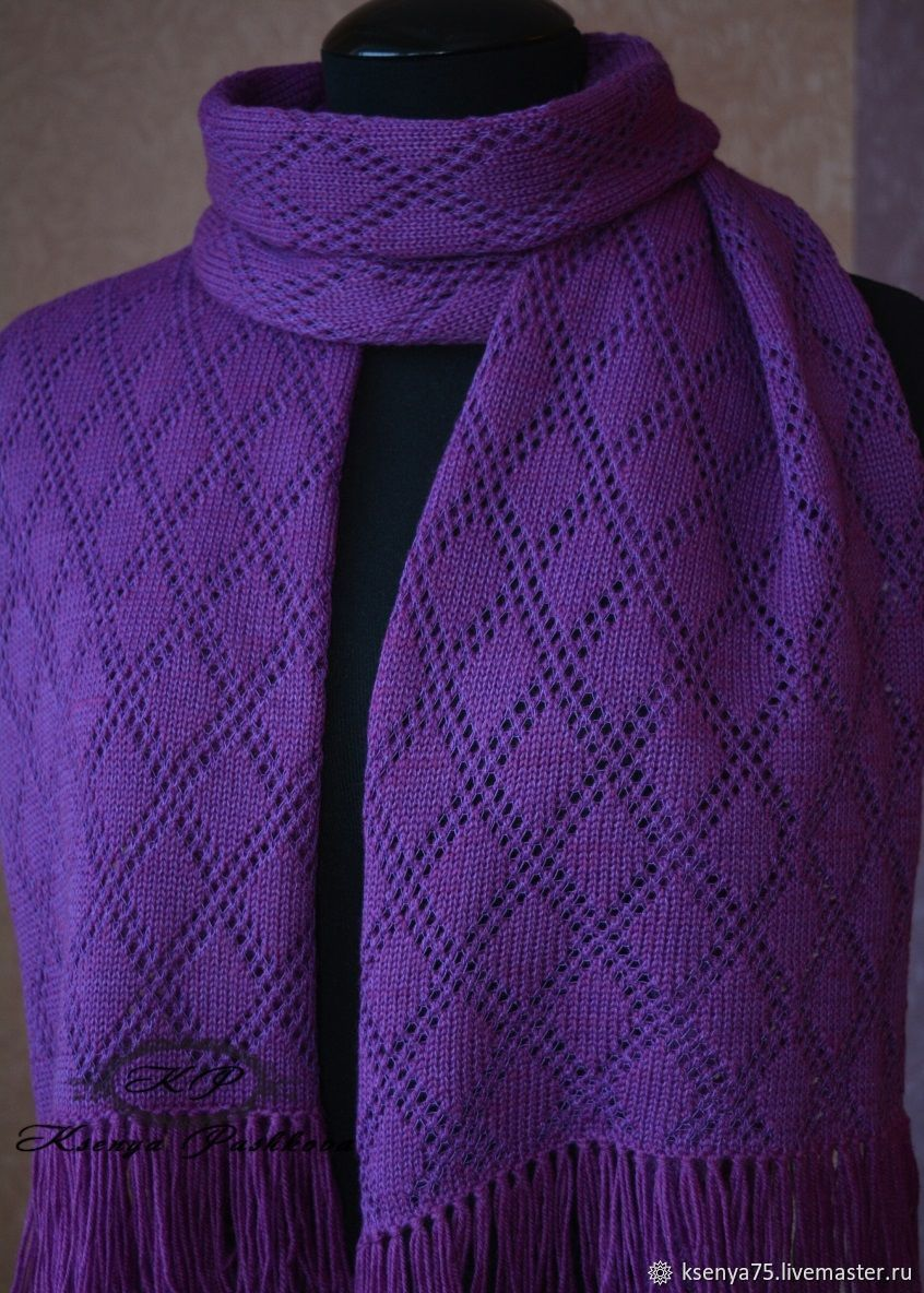 Вязаный ажурный шарф-палантин, Шарфы, Москва, Фото №1