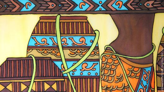 Картины для интерьера Ритмы Африки. Панно батик. . Коричневый. Желтый. Оранжевый. Бирюзовый. Желтый. Картины для спальни. Подарок любимой. Картина на шелке.  Мир Африки. Чувственность. Картины Решетовой Елены. Магазин подарков.