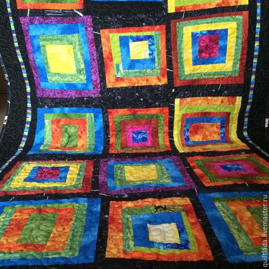 """Текстиль, ковры ручной работы. Ярмарка Мастеров - ручная работа. Купить """"Излучение  радости"""" лоскутный  коврик,  йога-мат. Handmade."""