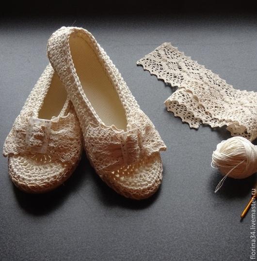 Обувь ручной работы. Ярмарка Мастеров - ручная работа. Купить Туфельки-балетки уличные Нежность. Handmade. Белый, тапочки, молочный