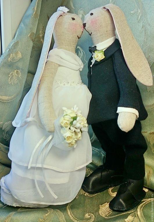 Куклы Тильды ручной работы. Ярмарка Мастеров - ручная работа. Купить Свадебные зайцы. Handmade. Чёрно-белый, подарок на свадьбу