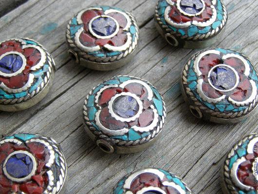 Для украшений ручной работы. Ярмарка Мастеров - ручная работа. Купить Этнические бусины с бирюзой и кораллом, Непал БН39. Handmade.