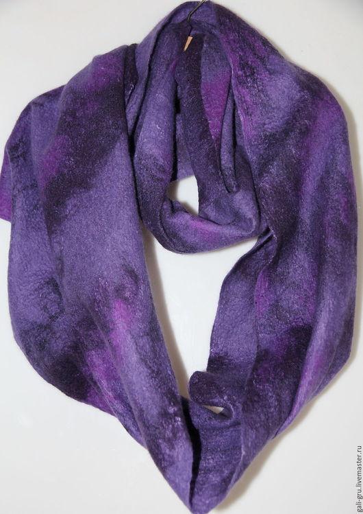 Шарфы и шарфики ручной работы. Ярмарка Мастеров - ручная работа. Купить Шарф-снуд  Фиолетовое настроение. Handmade. Тёмно-фиолетовый