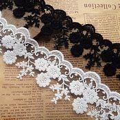 Материалы для творчества handmade. Livemaster - original item Lace white embroidery on mesh 8,5 cm. Handmade.