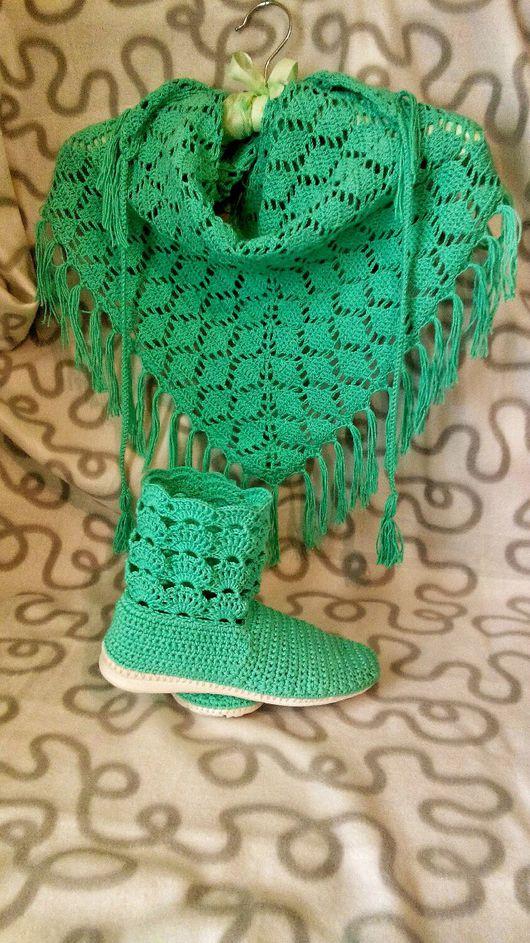 """Обувь ручной работы. Ярмарка Мастеров - ручная работа. Купить Комплект """"Бриз"""". Handmade. Бактус, сапоги женские, шарф женский"""