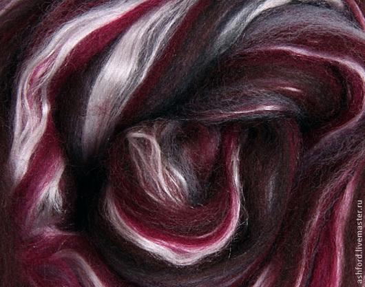 """Валяние ручной работы. Ярмарка Мастеров - ручная работа. Купить Шерсть для валяния и прядения меринос+шёлк, """"Шторм"""":. Handmade. Фиолетовый, шерсть"""