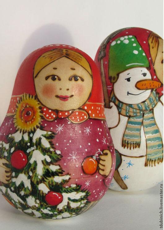 """Новый год 2017 ручной работы. Ярмарка Мастеров - ручная работа. Купить Неваляшка """"Елочка, снеговик"""", подарок на Новый Год, новогодний сувенир. Handmade."""