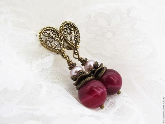 Серьги ручной работы. Ярмарка Мастеров - ручная работа. Купить Серьги из вишневого агата и розового жемчуга.. Handmade. Бордовый, агат
