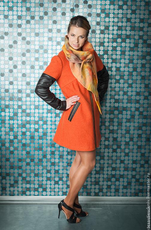Верхняя одежда ручной работы. Ярмарка Мастеров - ручная работа. Купить Пальто!!. Handmade. Рыжий, оранжевый, 100% шерсть кожа