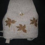 Сумки и аксессуары ручной работы. Ярмарка Мастеров - ручная работа рюкзак льняной малый , с вышивкой. Handmade.