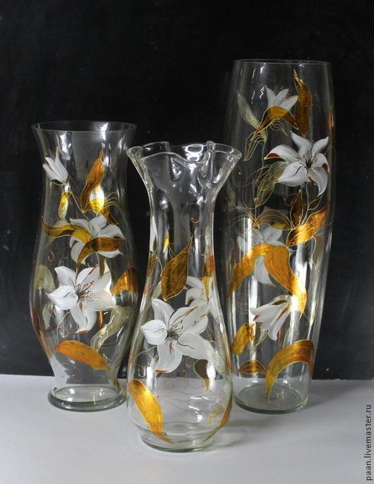 """Вазы ручной работы. Ярмарка Мастеров - ручная работа. Купить Ваза """"Лилия"""". Handmade. Белый, стекло, ваза для цветов"""