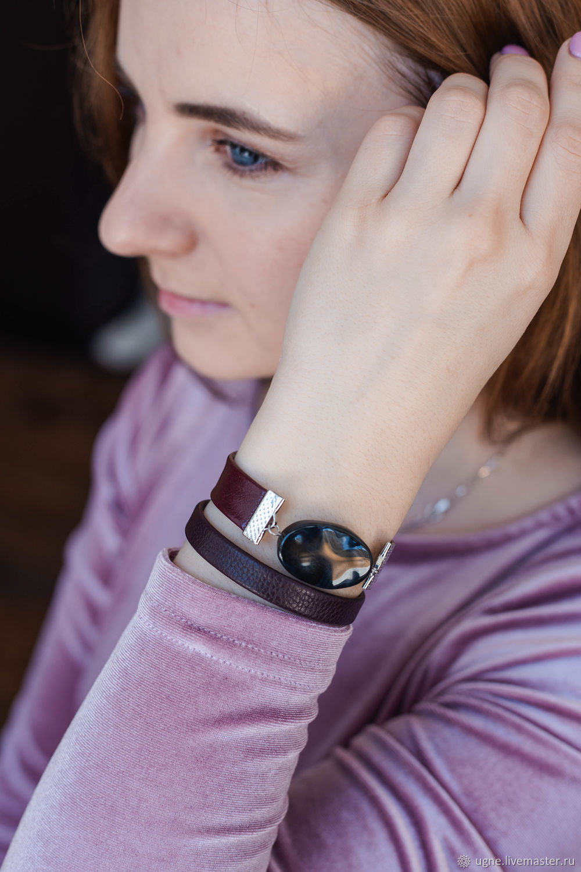 Double bracelet winding in office with black agate, Charm bracelet, Cheremshanka,  Фото №1