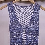 Одежда ручной работы. Ярмарка Мастеров - ручная работа Вязаный синий жилет Монвизо , ручная работа,хлопок Италия. Handmade.