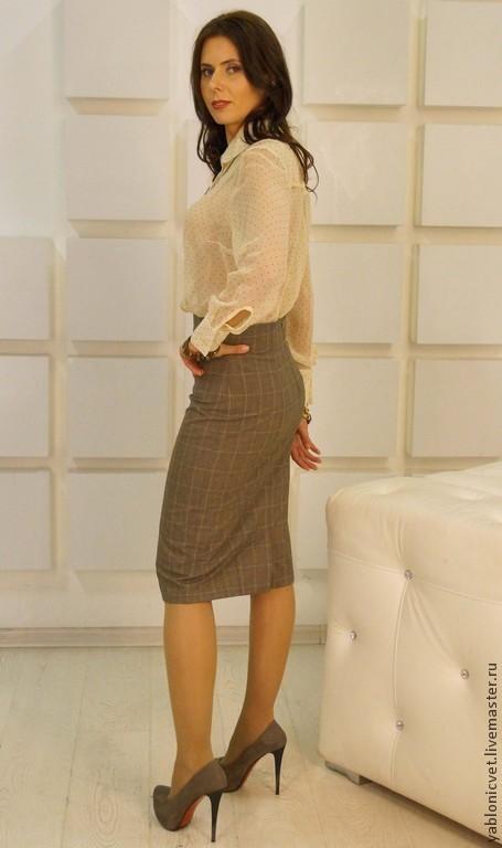 Юбки ручной работы. Ярмарка Мастеров - ручная работа. Купить юбка-карандаш. Handmade. Коричневый, юбка офисная