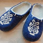 """Обувь ручной работы. Ярмарка Мастеров - ручная работа Тапки валяные домашние """"Зимнее утро"""". Handmade."""