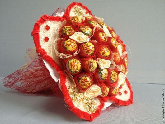 Сувениры ручной работы. Ярмарка Мастеров - ручная работа. Купить Цветок из чупа чупсов. Handmade. Ярко-красный, букет на заказ