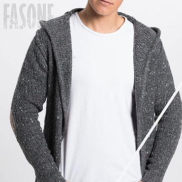 Clothing handmade. Livemaster - original item Jackets: Men`s cardigan grey with hood and elbow pads. Handmade.