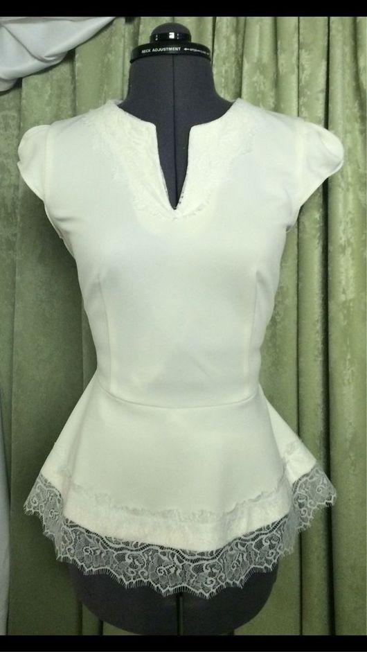 Блузки ручной работы. Ярмарка Мастеров - ручная работа. Купить Блузка с баской и кружевом. Handmade. Блузка, блузка из шелка
