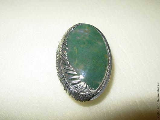 """Кольца ручной работы. Ярмарка Мастеров - ручная работа. Купить Кольцо """"Пёрышко на камне"""". Handmade. Тёмно-зелёный, моховый агат"""