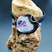 Украшения handmade. Livemaster - original item Stylish bracelet c purple agate crackle on rubber bracelet. Handmade.