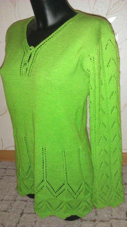 """Кофты и свитера ручной работы. Ярмарка Мастеров - ручная работа. Купить Кофточка с ажуром """"Весенняя зелень"""". Handmade. Ярко-зелёный"""