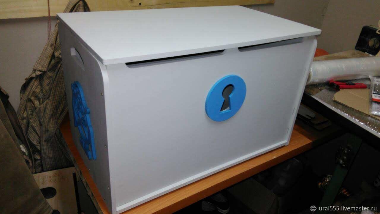 Ящик для игрушек средний, плоский верх, с ручками- канатиками, Комоды, Челябинск,  Фото №1