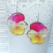Украшения handmade. Livemaster - original item Transparent Earrings Pink Pansy No. №5 Lollipop Flowers. Handmade.