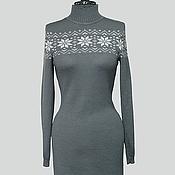 Одежда ручной работы. Ярмарка Мастеров - ручная работа Платье серое со снежинкой. Handmade.
