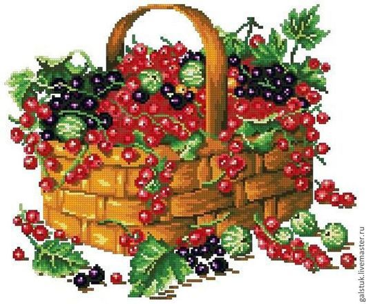 Схема вышивки чешским бисером ягод