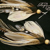 Украшения handmade. Livemaster - original item Boho earrings in beige peacock feathers. Handmade.