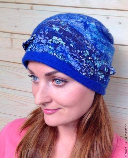 """Шапки ручной работы. Ярмарка Мастеров - ручная работа. Купить шапка """"Синее синего"""". Handmade. Тёмно-синий, шапочка валяная"""